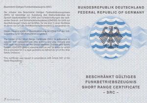 Amtliches Dokument das den Erwerb des SRC bestätigt.